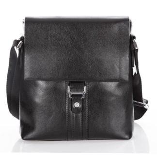 Czarna elegancka torba męska na ramię ze skóry ekologicznej