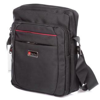 Czarna torba męska na ramię bag Street z czerwonym paseczkiem z przodu