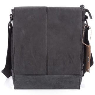 Średnia torba męska na ramię czarna z klapą