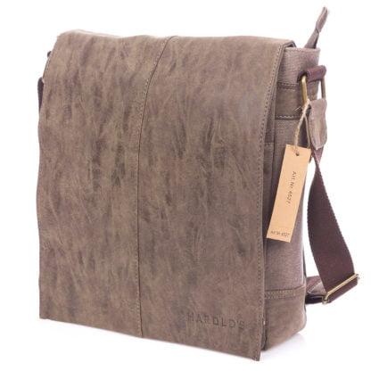 pionowa brązowa torba męska na ramię a4