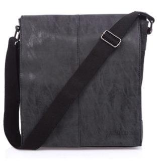 torba pionowa a4 czarna z klapą męska na ramię