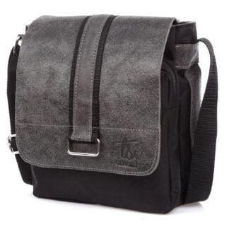 średnia torba męska na ramię z szarą skórzaną klapą